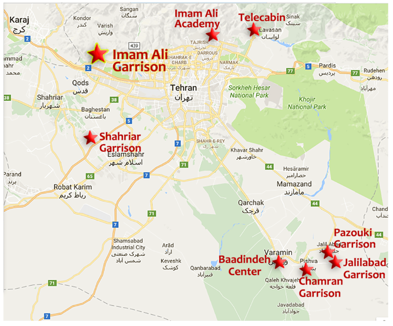 location of 8 irgc terrorist training camps in tehran